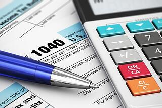 calculator and tax form