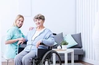 elderly person and caretaker