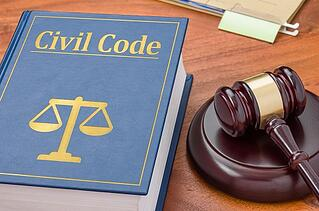 civil code law book and gavel
