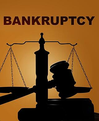 bankruptcy graphic and gavel